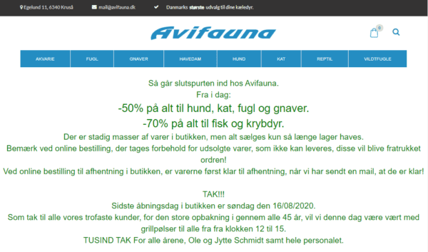 Denmark - Everything For Your Pets ecommerce customers (data of avifauna.dk) 30.400 Emails